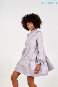 Blue Vanilla Grey Shirring Smock Dress