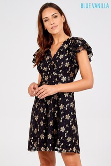 Blue Vanilla Black Floral Wrap Front Frill Sleeve Lace Dress