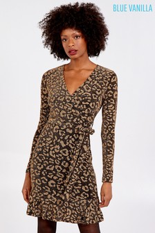 Blue Vanilla Black Animal Print Wrap Front Peplum Hem Dress