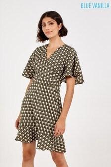 Blue Vanilla Green Geometric Print Frill Hem Midi Dress