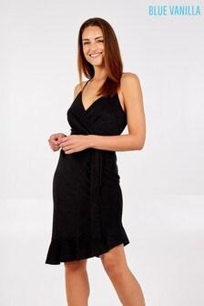 Blue Vanilla Black Wrap Front Asymmetric Hem Dress