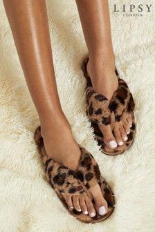 Lipsy Brown Faux Fur Thong Slipper