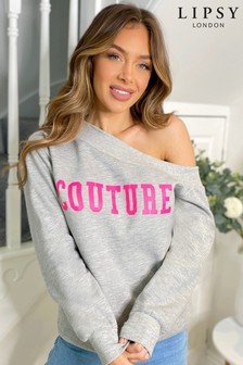Lipsy Grey Couture Slash Neck Sweat