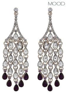Mood Rose Gold Purple Droplet Chandelier Earrings
