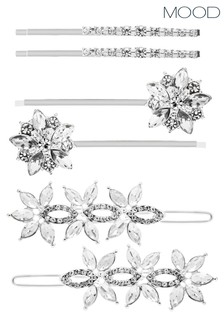 Mood Silver Floral Hair Slides  Pack Of 6