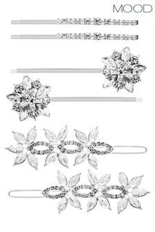 Mood Silver Floral Hair Slides  Pack Of 6