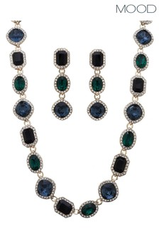 Mood Green Crystal Halo Necklace And Earrings Set