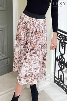 Lipsy Cream Animal Lipsy Pleated Midi Skirt