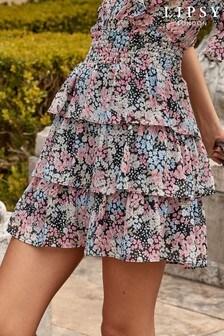 Lipsy Ditsy Print Tiered Mini Skirt