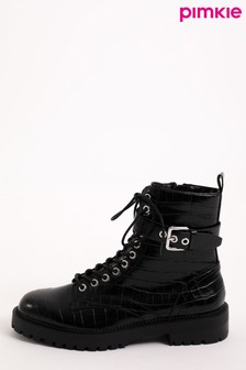 Pimkie Black Faux Leather Croc Anke Boots