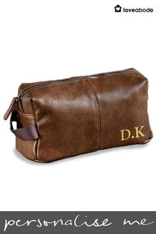 Personalised Men's Faux Leather Wash Bag by Loveabode
