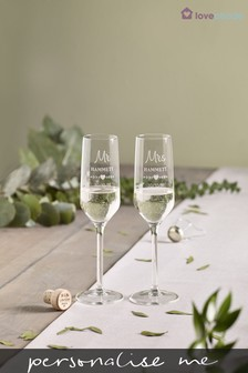Personalised Mr and Mrs Champagne Flutes by Loveabode