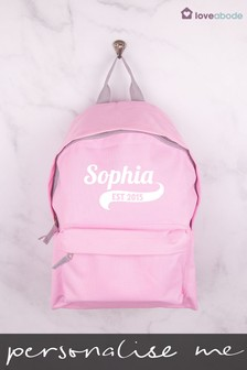 Personalised Light Pink Backpack by Loveabode