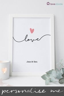 Personalised Love Wall Art by Loveabode