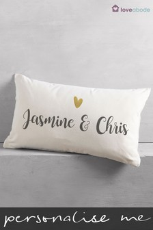 Personalised Heart Couple Cushion by Loveabode