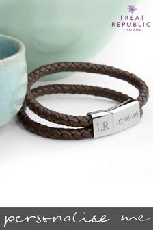 Personalised Men's Dual Leather Bracelet by Treat Republic