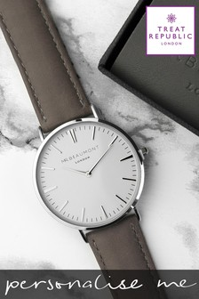 Personalised Men's Modern Vintage Leather Watch by Treat Republic