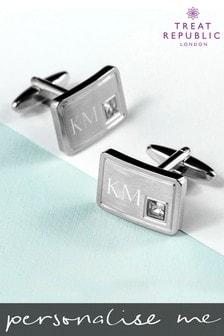 Personalised Silver Tone Cufflinks by Treat Republic