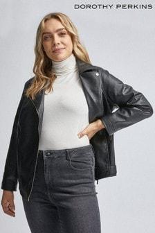 Dorothy Perkins Black Curve Pu Biker Jacket