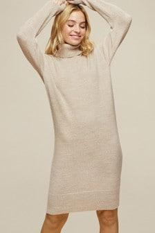 Dorothy Perkins White Petite Roll Neck Knitted Dress