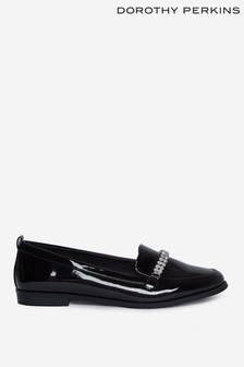 Dorothy Perkins Black Black Diamante Detail Loafers