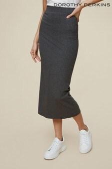 Dorothy Perkins Grey Tall Ribbed Skirt