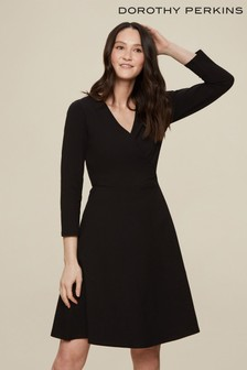 Dorothy Perkins Black Tall Wrap 3/4 Sleeve Dress