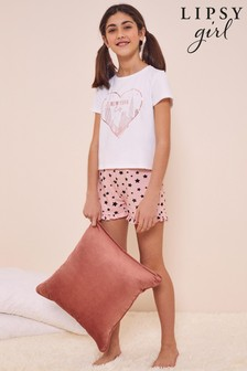 Lipsy White And Pink Frill Short PJ Set
