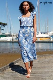 Love & Roses Blue Floral Shirred Bodice Midi Dress