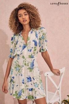 Love & Roses Floral Regular Printed Ruffle Shirt Dress