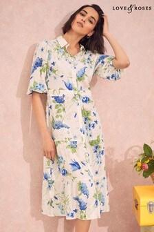 Love & Roses Multi Printed Midi Shirt Dress