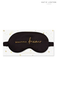 Katie Loxton Satin Eye Mask | Beautiful Dreamer | Black | 11 x 21.5cm