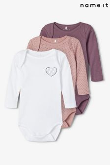 Name It Pink Heart Polka Print Long Sleeve Bodysuit 3 Pack