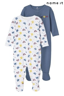 Name It Blue Bear Print 2 Pack Long Sleeve Sleepsuit
