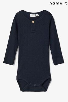 Name It Navy Ribbed Three-Quarter Sleeve Baby Bodysuit