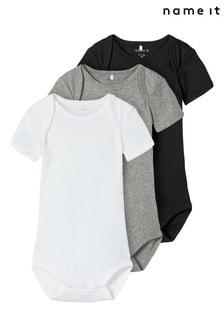Name It Black 3 Pack Short Sleeve Baby Bodysuit