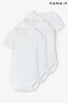 Name It White Short Sleeve Bodysuit 3 Pack