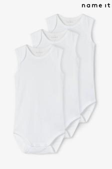 Name It White 3 Pack Sleeveless Baby Bodysuit