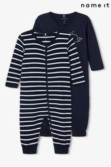 Name It Navy 2 Pack Long Sleeve Sleepsuit