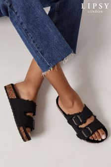 Lipsy Black Double Strap Footbed Slippers