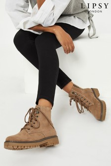 Lipsy Camel Brown Lace Up Biker Boot