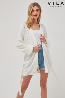 Vila Cream Belted Cardigan