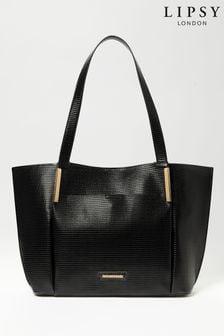 Lipsy Black Lizard Shopper Bag