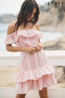 Lipsy Multi Rainbow Stripe Bardot Dress