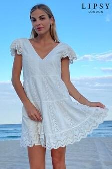 Lipsy White Broderie V Neck Tier Hem Dress