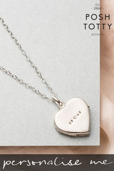 Personalised Heart Locket Necklace by Posh Totty