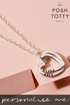 Personalised Interlinking Hearts Necklace by Posh Totty