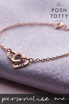 Personalised Double Heart Names Bracelet 18ct
