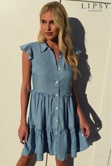 Lipsy Blue Tencel Sleeveless Tiered Shirtdress