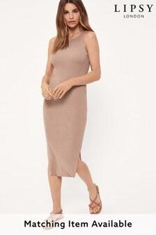 Lipsy Brown Knitted Rib Midaxi Dress
